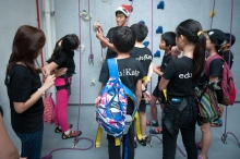 equipment briefing and being taught about their equipment. eduKate PSLE tuition class goes for their enrichment class at climb central. They learn to be confident and never to give up till they reach the top. plus their own bodies and physical properties. Science combines with mental strength in a real world situation.