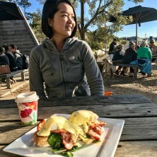 Tutor Yuet Ling on holiday in Melbourne Australia, Torquay Beach breakfast
